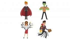 bigstock Superhero business man and wom 2